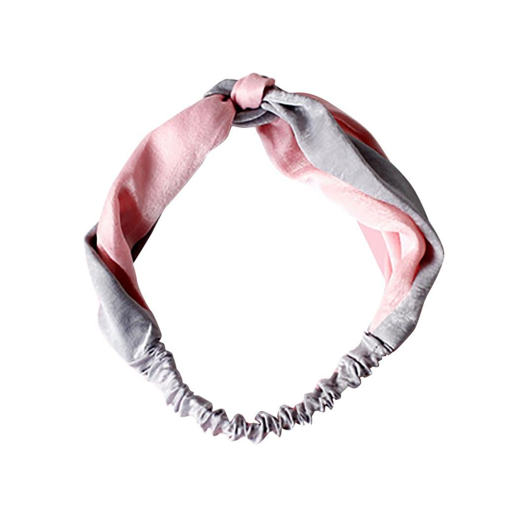 San-wood Color Block Knotted Hairband Turban Headband Decor Women Yoga Gift (Grey + Pink)