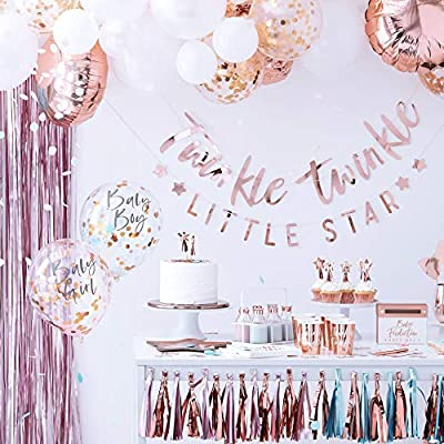 Ginger Ray Rose Gold Twinkle Little Star Baby Shower Bunting Party Decoration - Twinkle: Toys & Games