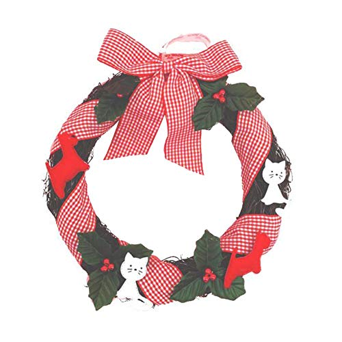 ANQI Cute Cartoon Cat Wreath, Creative Christmas Wreath, Store Mall Decoration Supplies with Bow and Berry 1PC