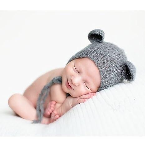 BINLUNNU bebé recién nacido fotografía apoyos niño Niña Gorro de Crochet  disfraz trajes Headress 3f552849c63