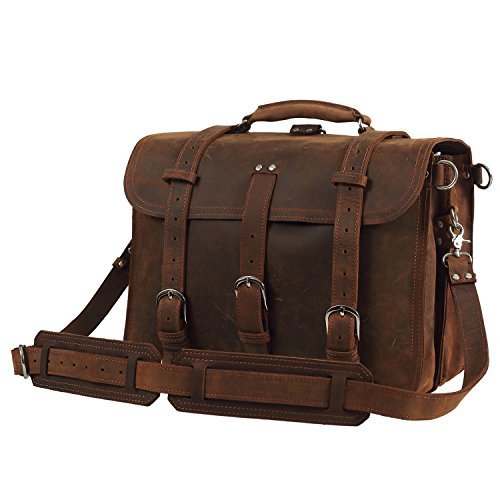 Texbo Full Grain Thick Cowhide Leather Men's Shoulder Briefcase Fit 17' Laptop Bag Tote