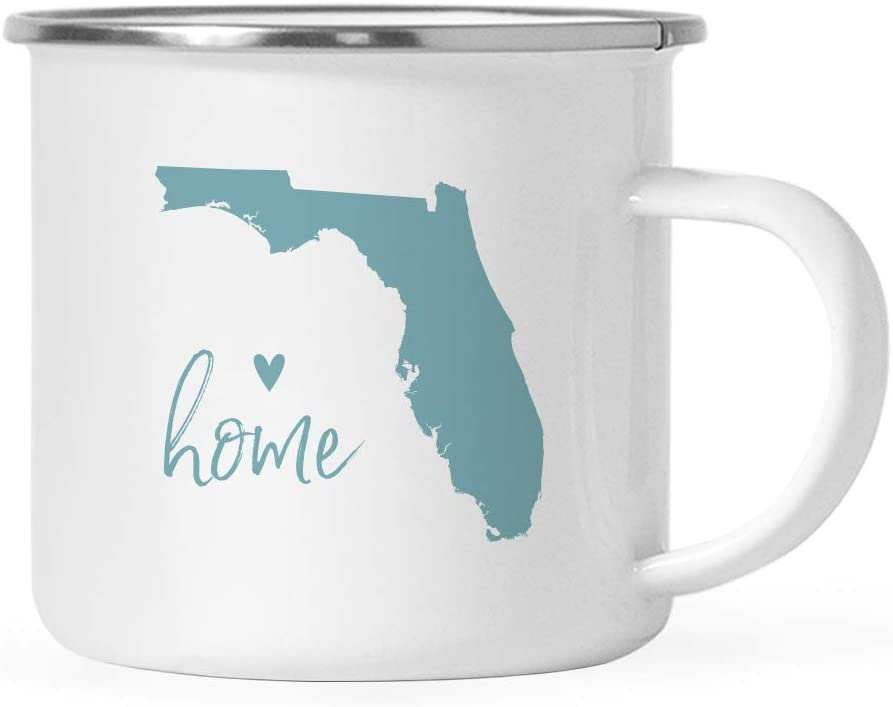 Andaz Press 11oz. US State Stainless Steel Campfire Coffee Mug Gift, Aqua Home Heart, Florida, 1-Pack, Metal Camping Camp Cup Long Distance Moving Away Hostess Graduation Gift