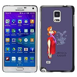 iKiki Tech / Estuche rígido - Lady Cartoon Character Red Dress - Samsung Galaxy Note 4 SM-N910F SM-N910K SM-N910C SM-N910W8 SM-N910U SM-N910