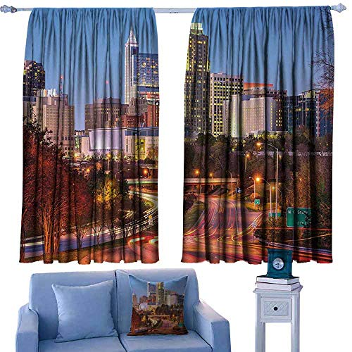 Mannwarehouse United States Printed Curtain Raleigh North Carolina USA Express Way Business District Building Skyscrapers Privacy Protection 72
