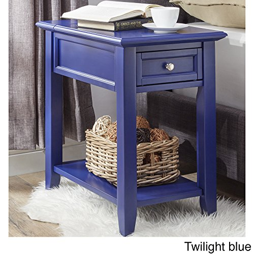 Modern Wooden Accent End Table Night Stand With Hidden Power Strip Charging  Station