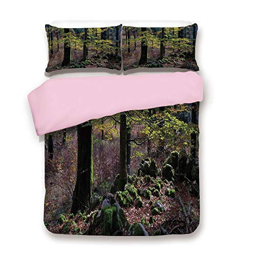 Natural Wood Arrow Chair (Pink Duvet Cover Set,FULL Size,Natural Scenery Trees Autumn Season in Woods Wilderness Rural Growth Eco Photo,Decorative 3 Piece Bedding Set with 2 Pillow Sham,Best Gift For Girls Women,Green Light Pi)