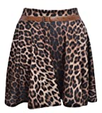 New Womens Ladies Belted Skater Flared Jersey Plain Mini Party Dress Skirt ANIMAL PRINT US 8/10