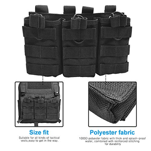LETUZI Magazine Pouch, Open-Top Tactical Molle Mag Pouch Holder with Bungee Straps for AR15 AK47 M4 M16 Type Magazines –Black