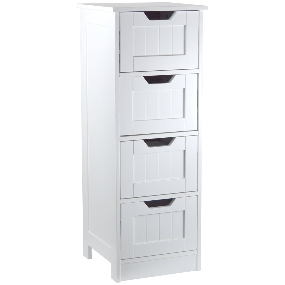 Bath Vida 4-Drawer Floor Standing Cabinet Unit Bathroom Storage, Wood, White Lassic 333376