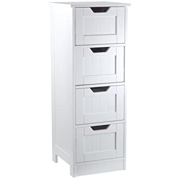 Bath Vida 4 Drawer Floor Standing Cabinet Unit Bathroom Storage, Wood, White