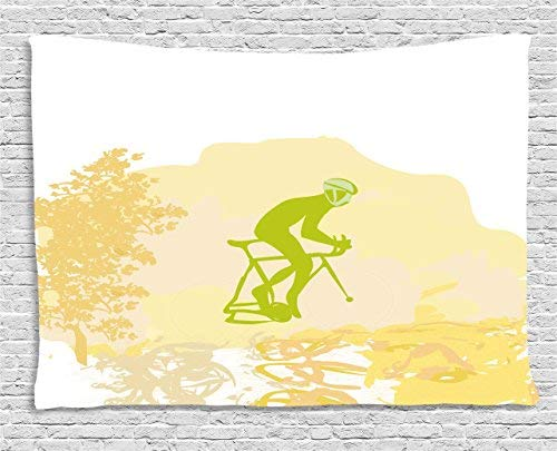 Teenage Tapestry Wall Hanging, Sports Theme Grunge Poster of a Cyclist Illustration Decorative Design Art Wall Art Tapestries for Home Bedroom Living Room Dorm Decor, 39WX59L Inches, Lime Green Yellow