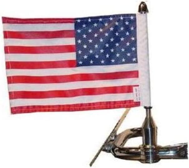 "Pro Pad 5//8/"" Round Side Mount Sissy Bar Flag Pole /& 10x15 Flag 4 Harley //Metric"