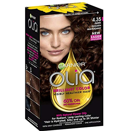 Garnier Olia Ammonia-Free Brilliant Color Oil-Rich Permanent Hair Color, 4.35 Dark Golden Mahogany (1 Kit) Brown Hair Dye