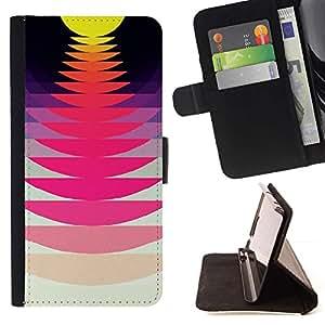 Momo Phone Case / Flip Funda de Cuero Case Cover - Record Music Sound Sunset Rosa Amarillo - LG Nexus 5 D820 D821