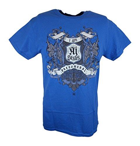 I Am AJ Styles Crest WWE Mens Blue T-shirt-XXL by WWE