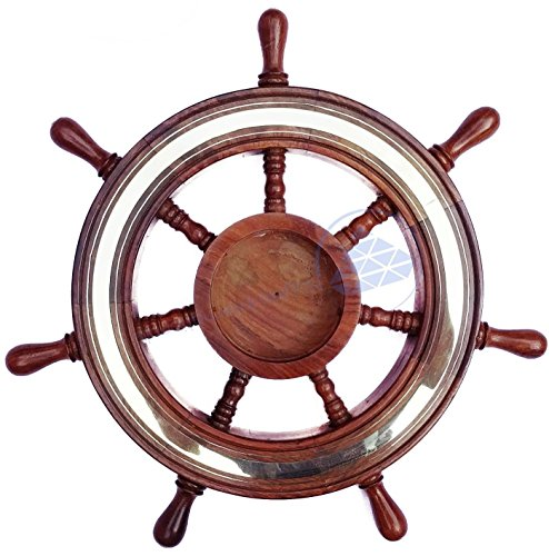 Buffed Polish Wide Brass Accented Solid Wood Ship Wheel | Wall Decor - Nagina International (48 Inches) (Accented Matte)
