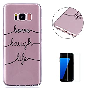 KaseHom Samsung Galaxy S8 Plus TPU Case Clear Crystal with [Free Screen Protector] Funny Anime Design Ultra Slim Soft Rubber Shock-Absorption Bumper Cover Shell for Galaxy S8 Plus - Text lines