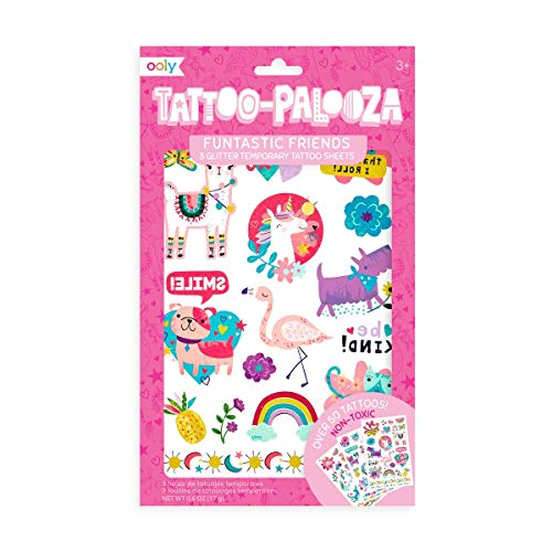 OOLY, Tattoo Palooza Skin-Friendly and Non-Toxic Temporary Tattoo for Kids – Funtastic Friends, 3 Sheets