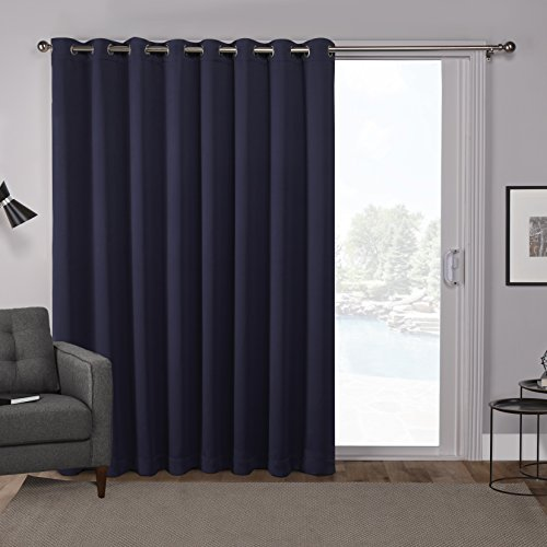 Cheap  Exclusive Home Sateen Patio Curtain Panel Blackout Wide Grommet Top, 100x84, Peacoat..