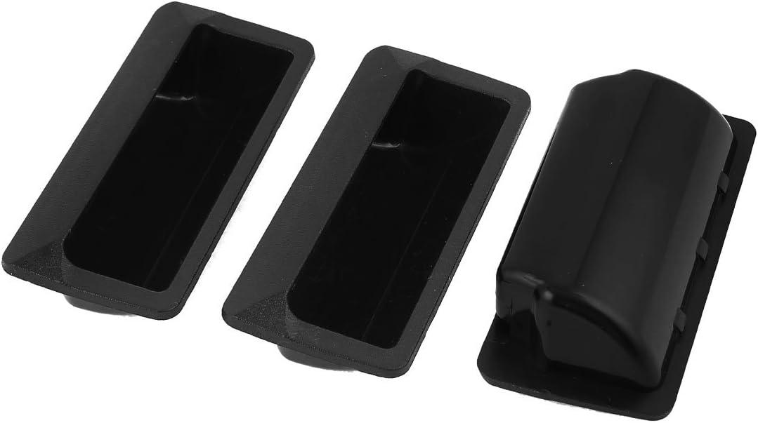 sourcingmap Manilla 3pcs Negro 108mmx48mm De Plástico Rectangular Enrasado De Las Puertas Del Armario Empotrado: Amazon.es: Bricolaje y herramientas