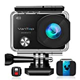 VanTop Moment 3 4K Action Camera w/ Gopro Compatible Carrying Case, microSD Card, Remote Control, 16MP Sony Sensor, 30M Waterproof Action Camera w/Gopro Compatible Accessories,2 Batteries, 170°Ultra Wide Angle