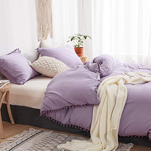MOVE OVER 3 Pieces Light Purple Bedding  Duvet Cover Set