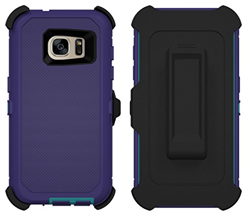 Galaxy S7 Case, Caseologist [Armor Series] [Shock Proof] [Purple | Aqua] for Samsung Galaxy S7 Case [Built in Screen Protector] [with Holster & Belt Clip] [Fits OtterBox Defender Series Belt Clip] (Green Line On Screen Galaxy S7 Edge)