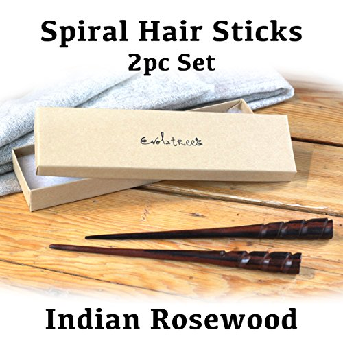 Evolatree Natural Hair Pin Chopsticks - Pair of Spiral Hair Sticks for Women and Men - Hand Carved Wood Styling Pin Set - Wide Cut Spiral - 7.5 Inches Long