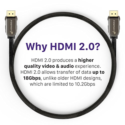 HDMI Cable (4K Latest Standard 2.0 HDMI Ready), Fosmon [UL Listed | Nylon Braided] Heavy Duty Cord - Support 4K 2160p UHD 1080p 3D