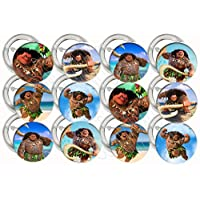 "Party Over Here Maui Only from Moana ButtonsParty Favors Supplies Decorations Collectible Metal Pinback Buttons, Large 2.25"" -12 pcs Demigod"