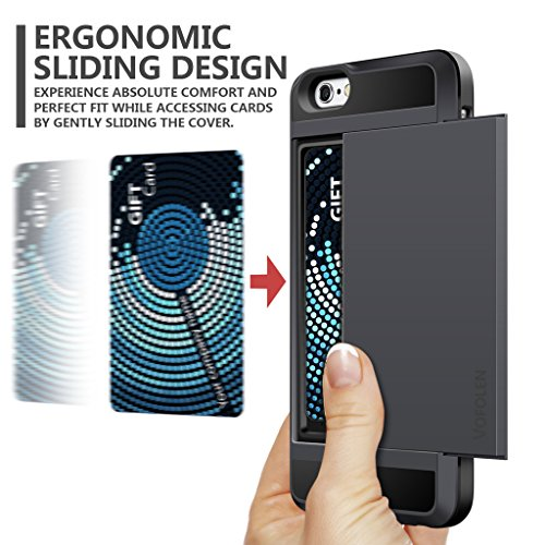 iPhone 6 Case, Vofolen Impact Resistant Protective Shell iPhone 6S Wallet Cover Shockproof Rubber Bumper Case Anti-scratches Hard Cover Skin Card Slot Holder for iPhone 6 6S 4.7 inch (Black)