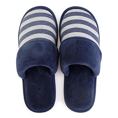 Teasoin Mens House Intérieur Lavable Chaude Confortable Pantoufles Bleu