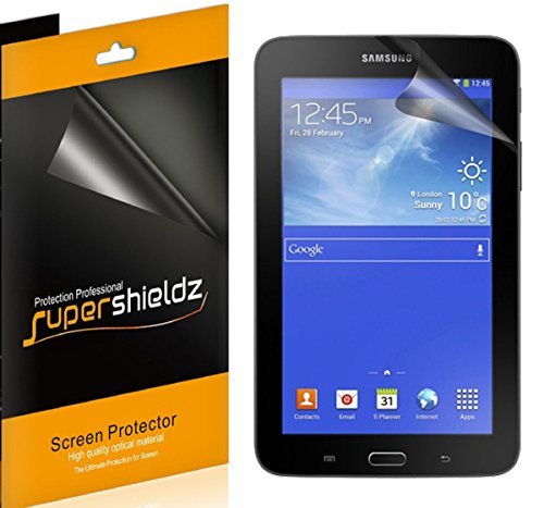 [3-PACK] Supershieldz for Samsung Galaxy Tab E Lite 7.0 / Tab 3 Lite 7.0 Screen Protector, Anti-Bubble High Definition Clear Shield + Lifetime Replacements Warranty - Retail Packaging