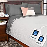 SimplyWarm Electric Heated Polar Fleece Blanket with Sensor-Safe Overheat Technology - New for 2018 HIGH TEC Digital Controller (Light Grey, Queen w/Dual Controllers)