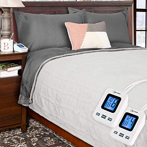 Price comparison product image SimplyWarm Electric Heated Polar Fleece Blanket with Sensor-Safe Overheat Technology – New for 2018 HIGH TEC Digital Controller (Light Grey, King w/Dual Controllers)