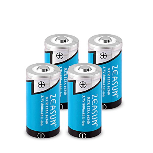 4-Pack 16340 Rechargeable Li-ion Battery, Zeasun RCR123A 3.7V 800mAh Protected Battery for Camera Flashlight Electric Toothbrush Shaver