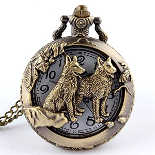 jklek Retro Bronze Dog Wolf Hollow Pocket Watch with Necklace Chain Unisex Cool Pendant Clock Classic Pocket Watches