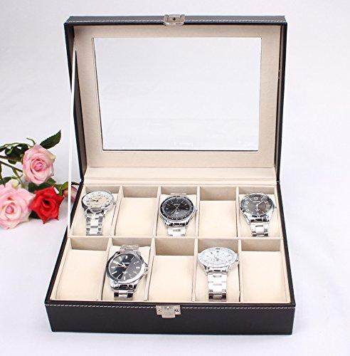 10 Grid Watches Display Glass Top Storage Box Case Jewelry Fashion