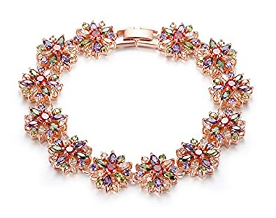 Yellow Chimes Non Precious Metal Florets Heaven Multicolor AAA Swiss Cubic Zirconia Charm Bracelet for Women and Girls
