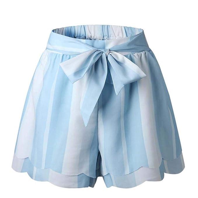 72a714d09 Hibasing Pantalones Cortos de Las Mujeres del Verano de Doble Capa Casual  Diseño Simple de Cintura Alta Pantalones Cortos Sueltos Mujer con cinturón   ...