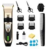 Hair Trimmer for Men, Professional Hair Trimmer Cordless Electric Hair Clipper Rechargeable Hair Cutting Kit with Trimming Accessories, Ceramic Blades LED Display Haircut Kit