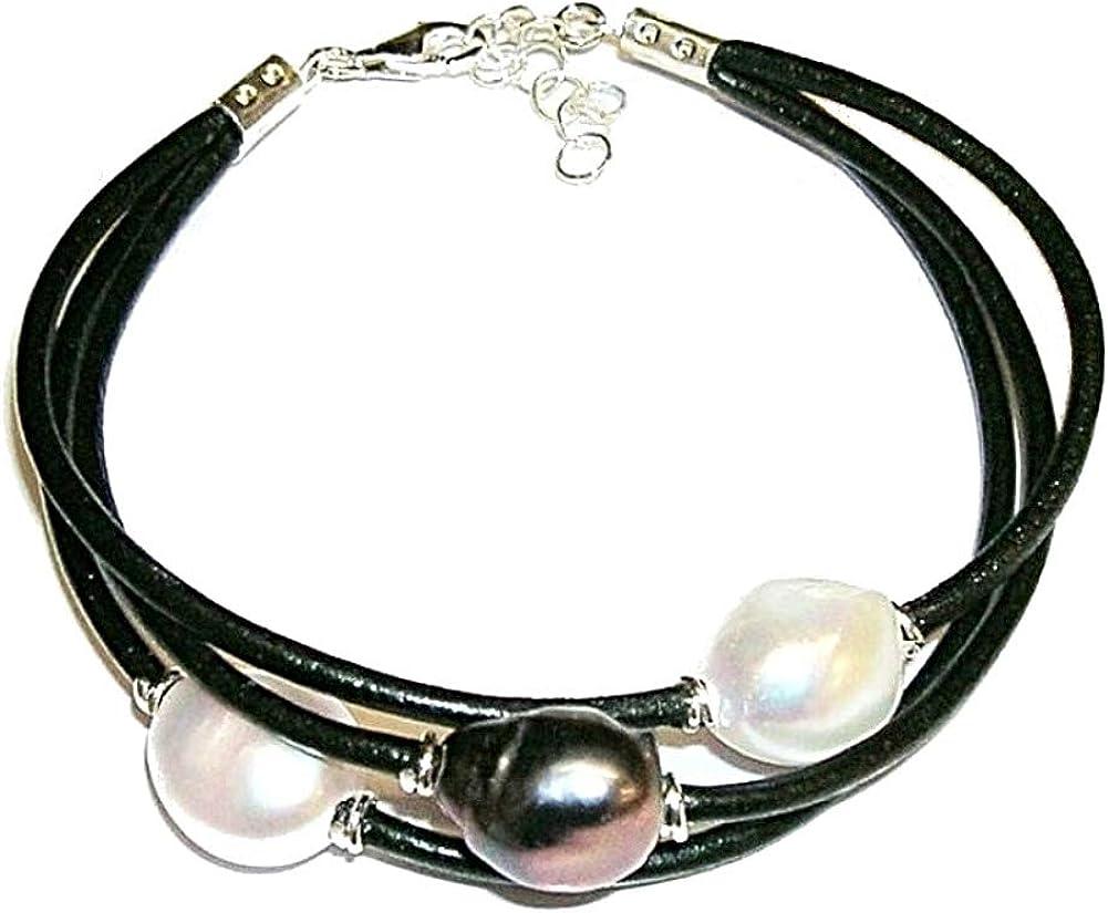 Pulsera de Perlas Cultivadas Tricolor Perlas barrocas Blanca, Rosa, y Gris con Cuero Natural y Plata de Ley