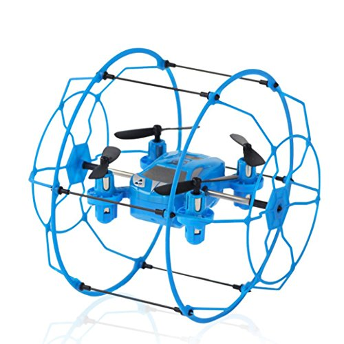 XILALU Mini Quadcopter, FY802 2.4GHz 4CH 6-Axis Mini Hybrid Car-Copter RC Quadcopter (Blue) - Gyro Metal Ir Helicopter