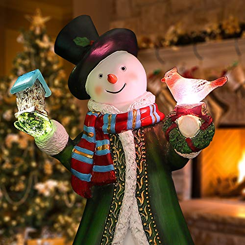 Valery Madelyn 12 Polyresin Christmas Snowman Figurines Decoration with LED Lights, Themed with Classic Collection Splendor Christmas Ornaments