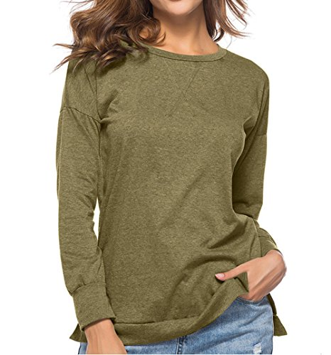 Tees Chemisiers Couleur et Longues Tops Slim Automne Shirts Jumpers Hauts Blouse Sweat JackenLOVE Casual T Femmes Printemps Fashion Arme Shirts Manches Unie Verte wza0x65vq6