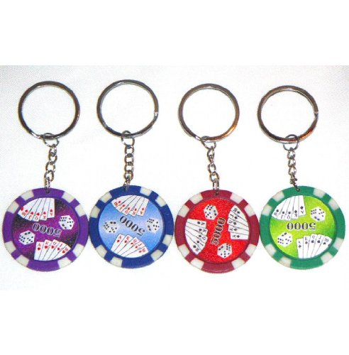 Poker Keychain Casino Chip (Casino Authentic Clay Poker Chip Keychains - 4 Pieces)