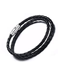 Unisex Simple Black Braided PU leather Double Wrap Bracelets with Stainless Steel Magnetic Clasp, 4 Size