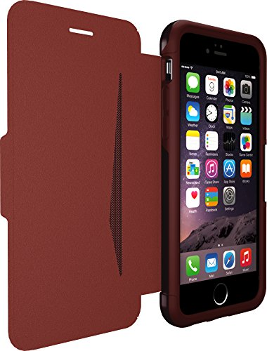 OtterBox STRADA SERIES Leather Wallet Case for iPhone 6/6s - Frustration Free Packaging - CHIC REVIVAL (WARM BLACK/MAROON LEATHER) (Does not fit Plus - Strada Series