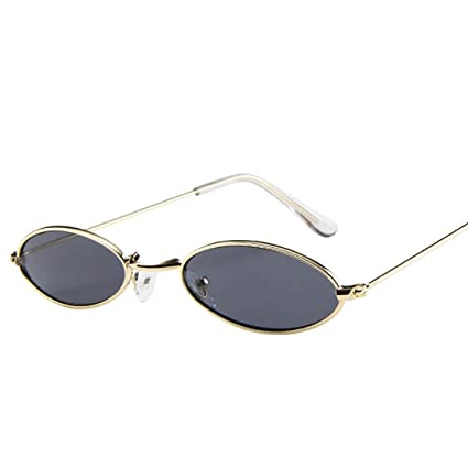 🍀 Btruely Herren Moda Gafas de Sol para Hombres y Mujeres pequeño Retro Gafas de Sol ovaladas Marco de Metal Gafas de Sol con cordón para el Cuello ...
