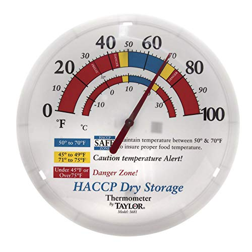 - Taylor Precision Products 5681 Prep and Dry Storage Wall Thermometer with Mounting Bracket, 12